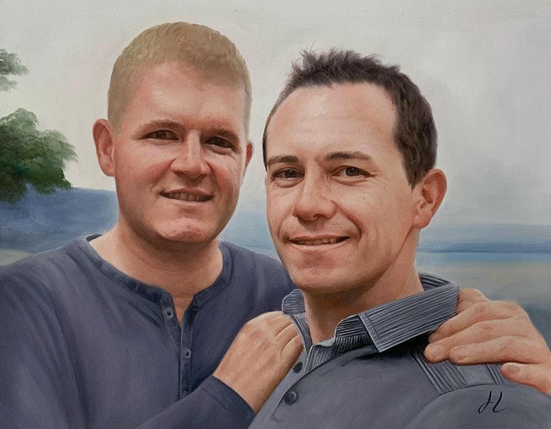 Beautiful handmade oil portrait of two adults