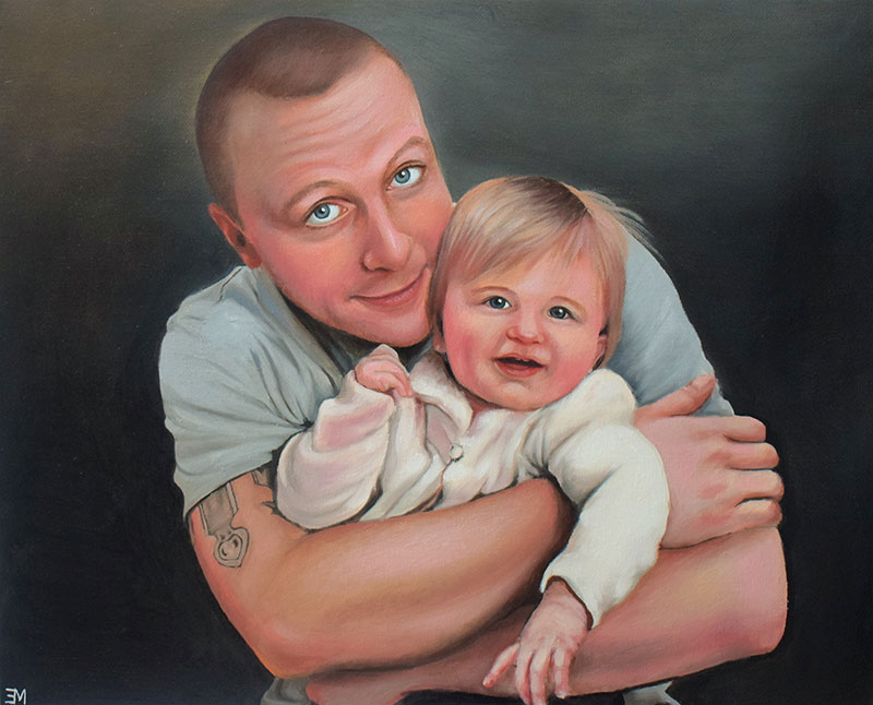 Beautiful oil painting of a father and daughter