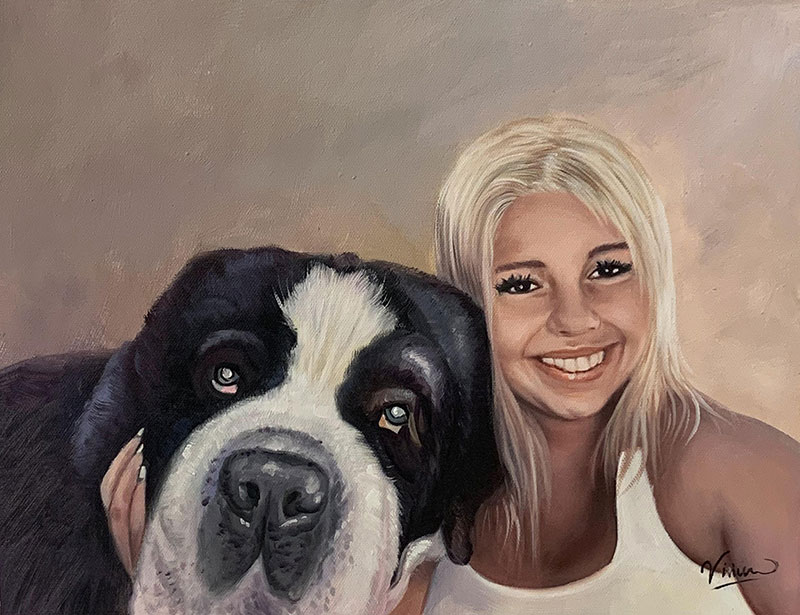 Custom acrylic painting of a girl with a dog