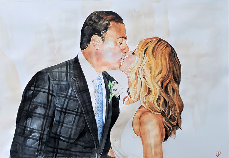 custom watercolor painting of a couple kissing