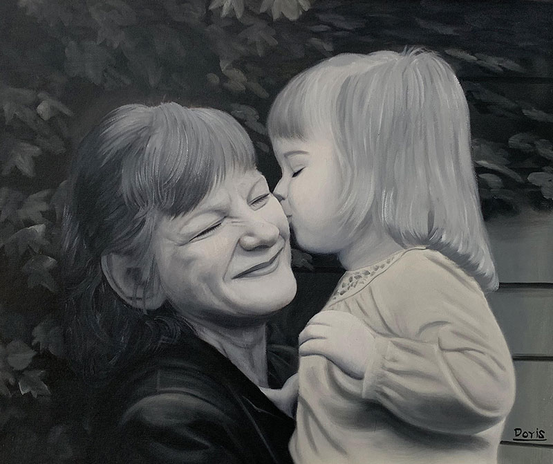 Beautiful black and white painting of a mother and daughter