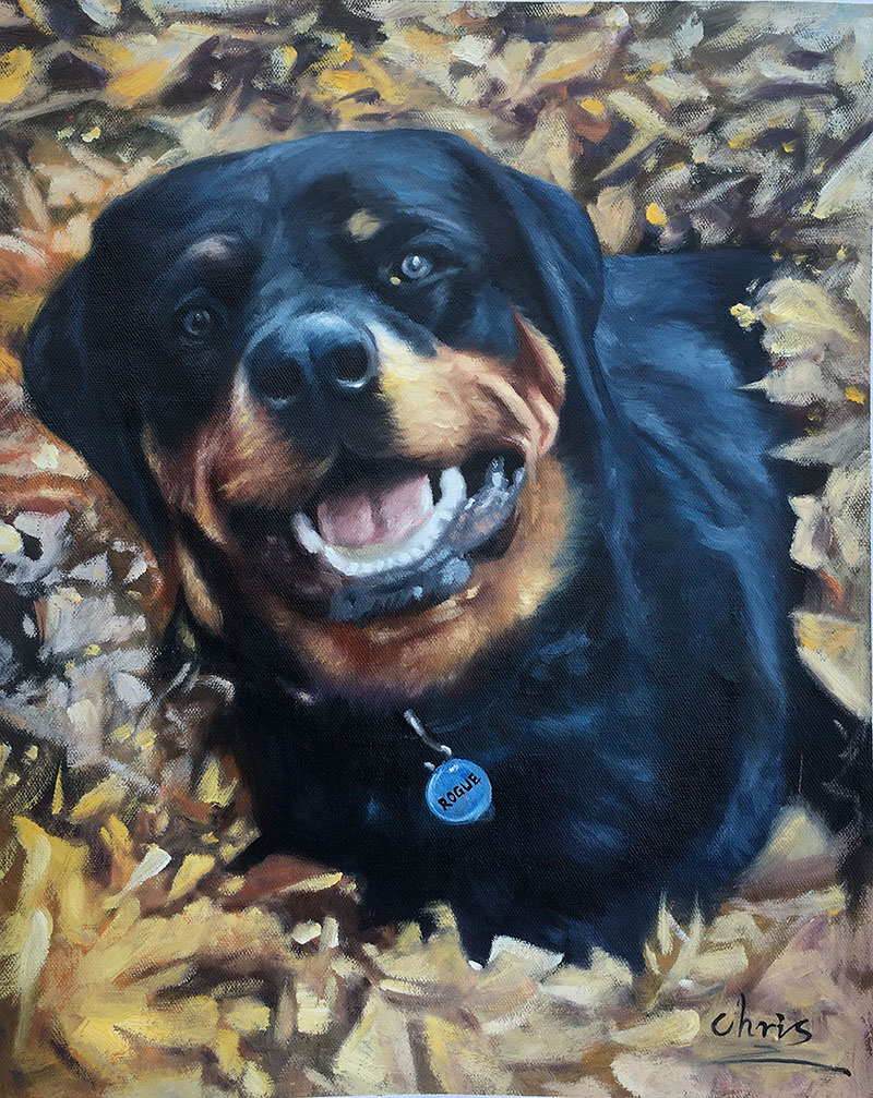 acrylic painting of rottweiler
