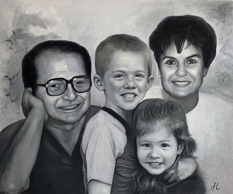 Beautiful oil painting of a smiling family