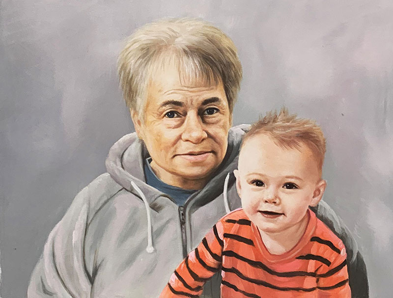 Beautiful oil painting of a parent and child
