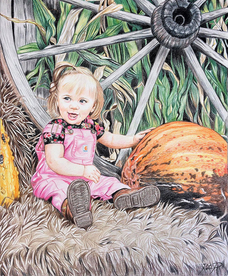 Custom color pencil drawing of a baby girl by the wheel