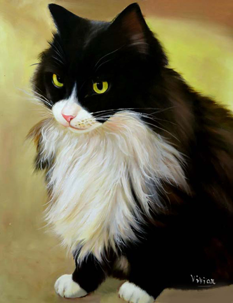 Custom oil portrait of a tuxedo cat with yellow eyes