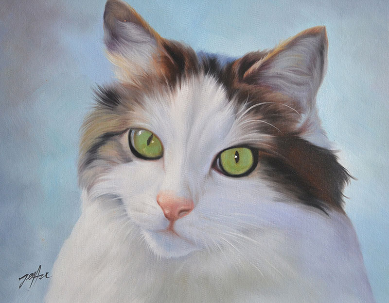 oil painting of white long haired cat with bright green eyes