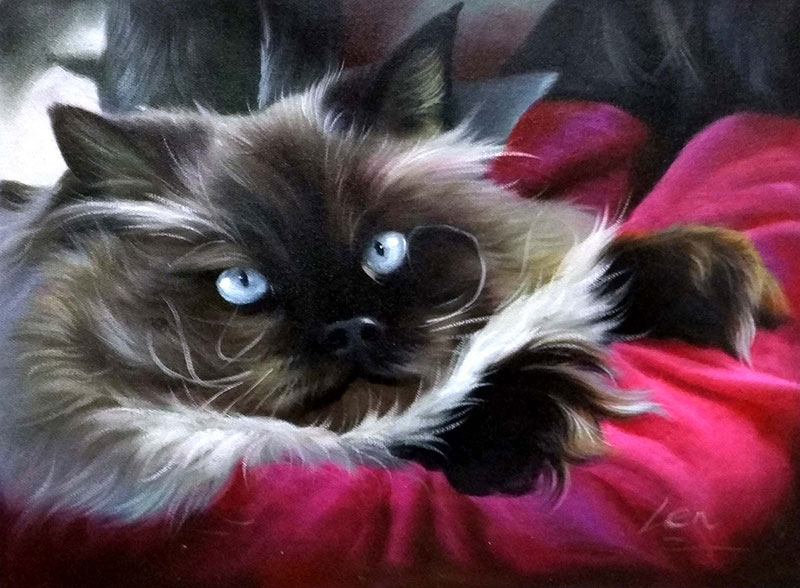 black and white long hair cat oil painting with blue eyes