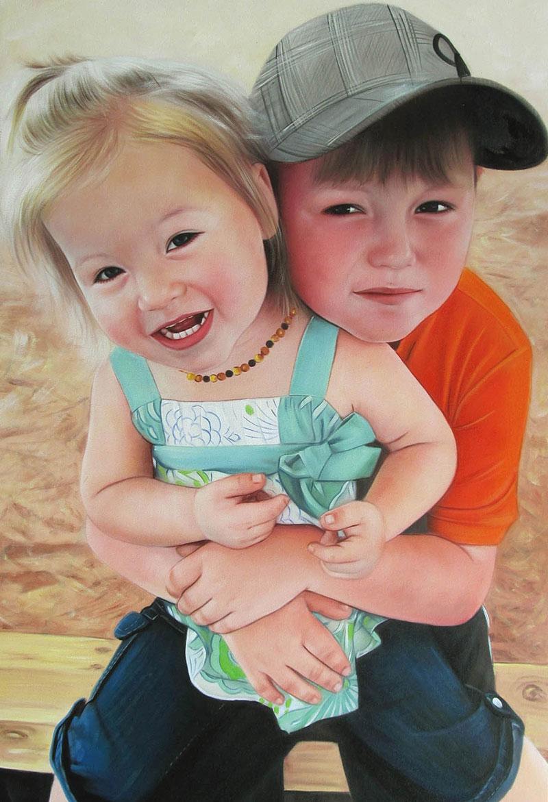 a custom oil painting of two siblings hugging