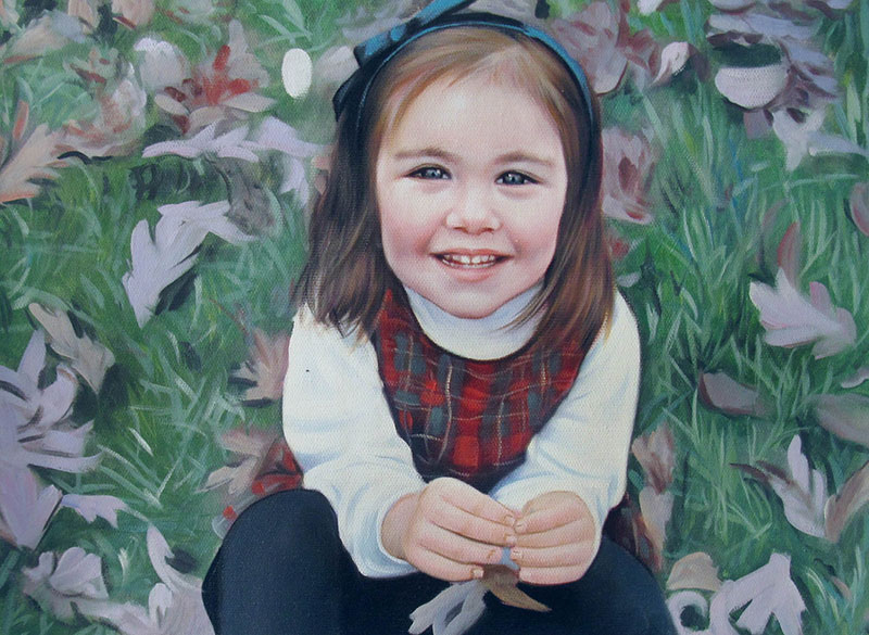 a custom oil painting of a child in park