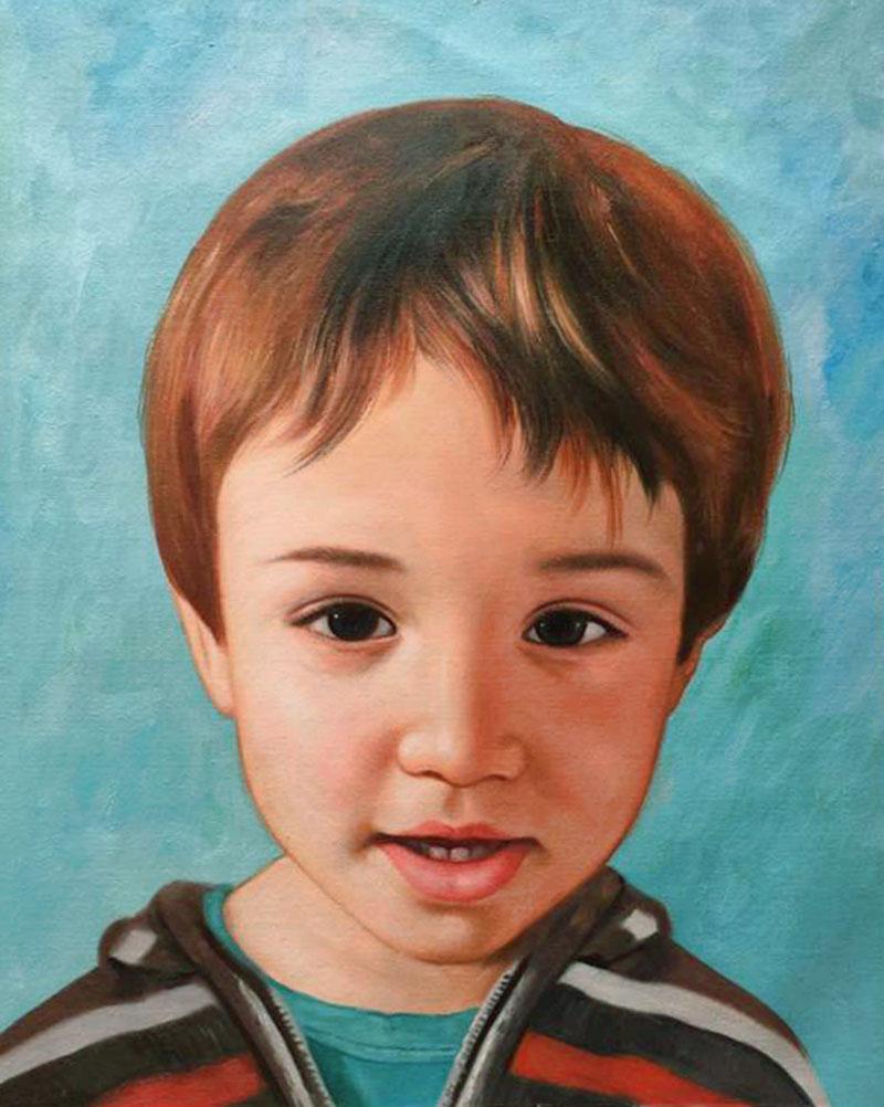 bambino olio da fotografia ritratto