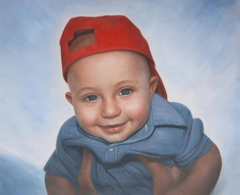 an oil painting of a little boy with red cap