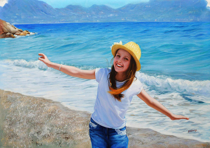 an oil painting of a an young girl at the beach