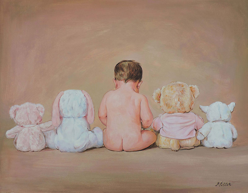 cute pastel portrait of a baby with toys