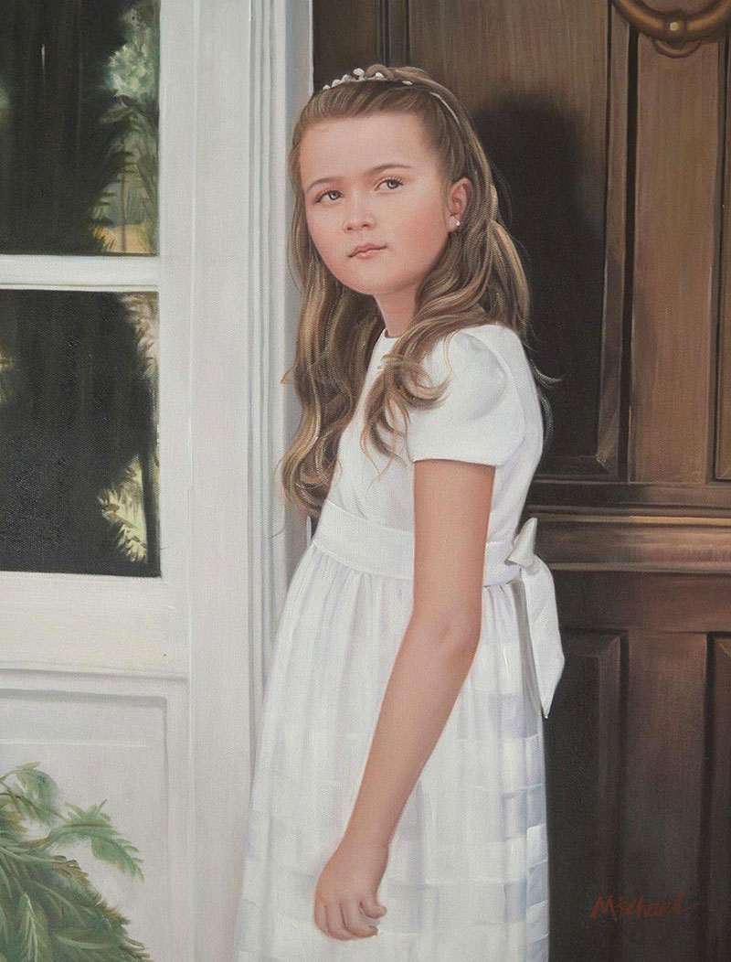 a custom oil portrait of an young girl at the door