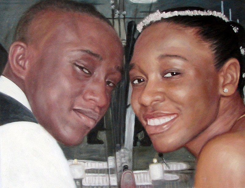 custom acrylic portrait of black couple wedding day