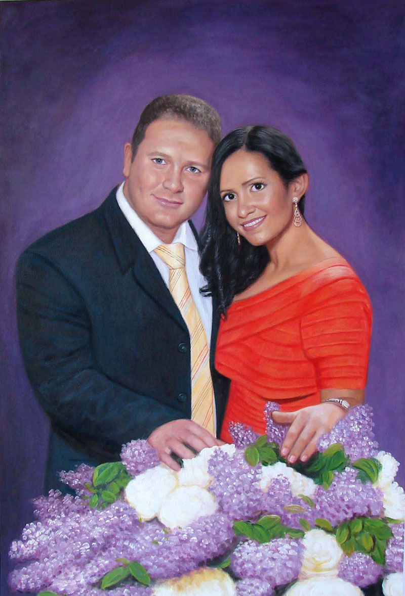 custom acrylic painting of fancy couple with bouqet flowers