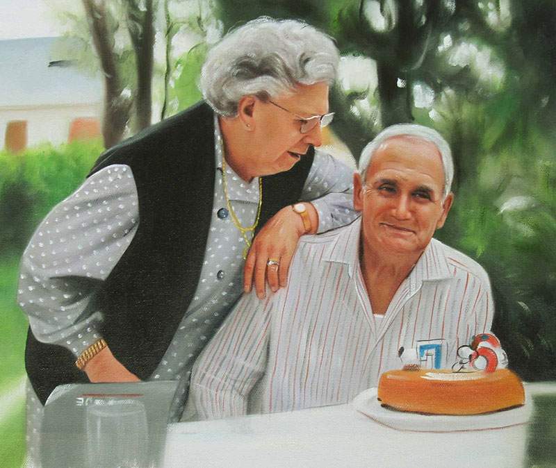 custom picture to painting of elder couple laughing outside