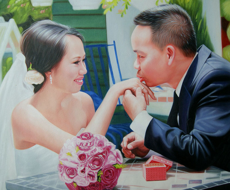 oil painting of an asian groom kissing hand of the bride