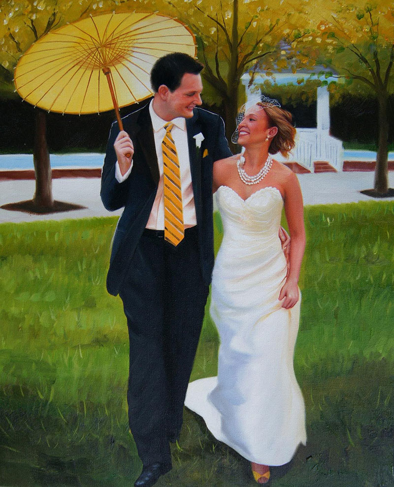 an oil painting of wedding couple with umberlla outdoors