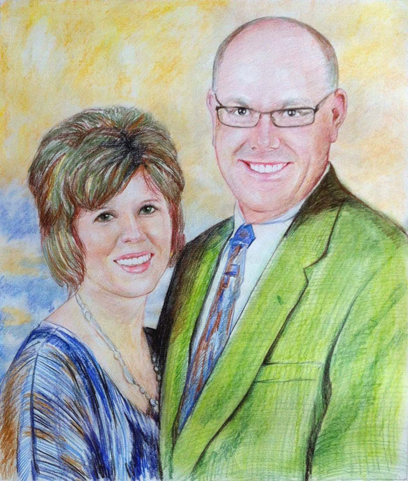 custom colored pencil drawing of an elder happy couple