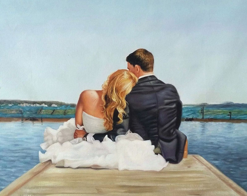 an oil painting of wedding couple hugging at the dock