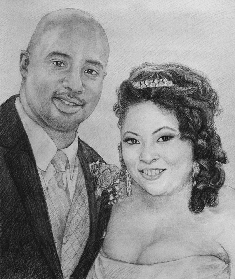 charcoal sketch of a wedding couple