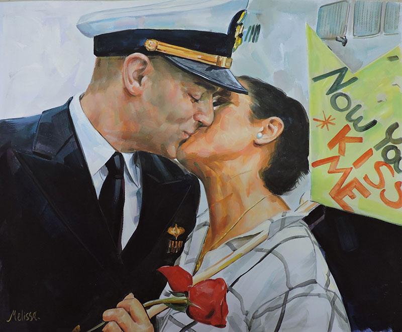 couple kissing portrait in pastel