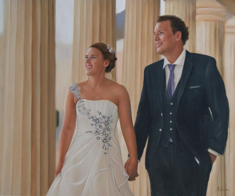 an oil painting of a wedding cuple holding hands