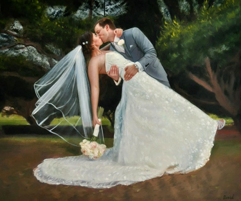 custom painting of the groom holding the bride