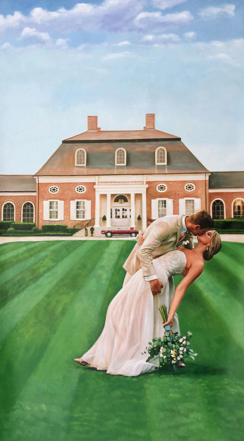 an oil painting of a wedding couple kissing by the house