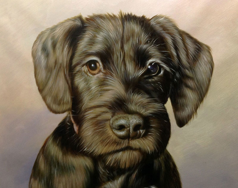 little cute dog oil art