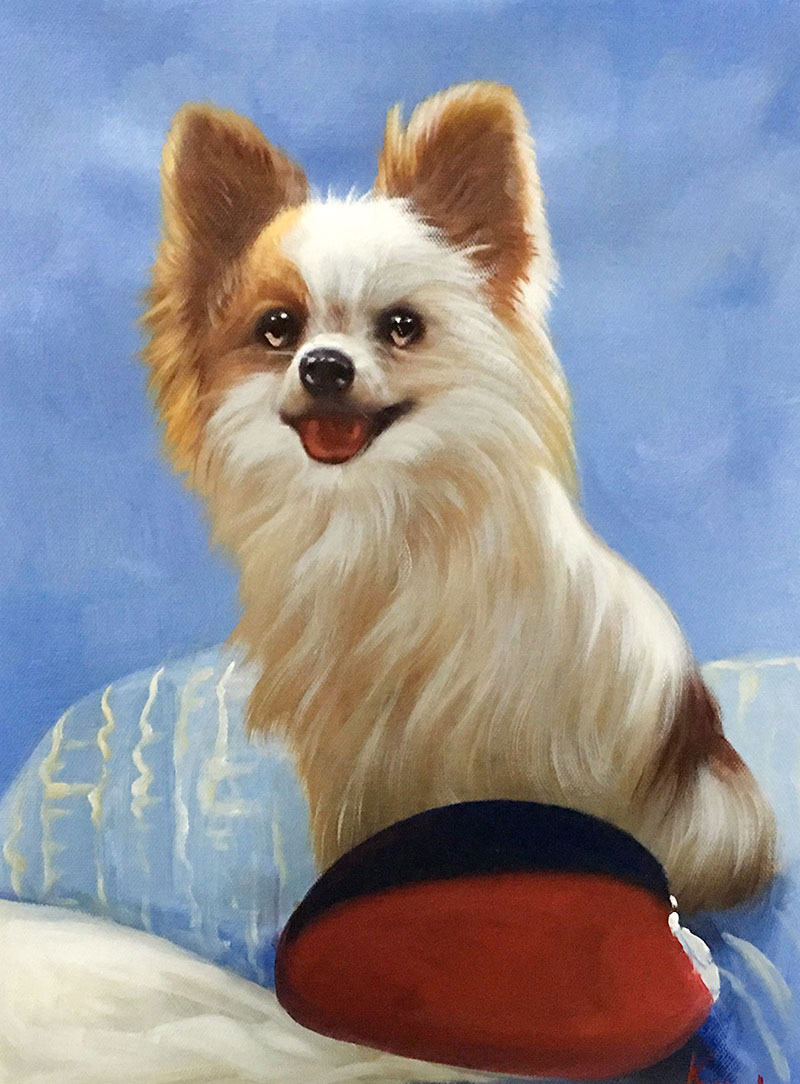 custom acrylic painting of small long haired puppy