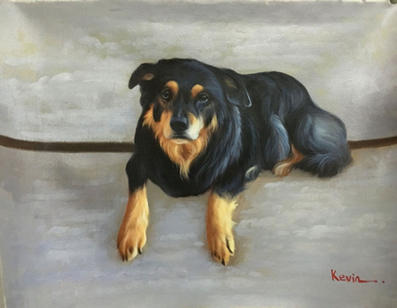 custom acrylic painting of black and brown mutt