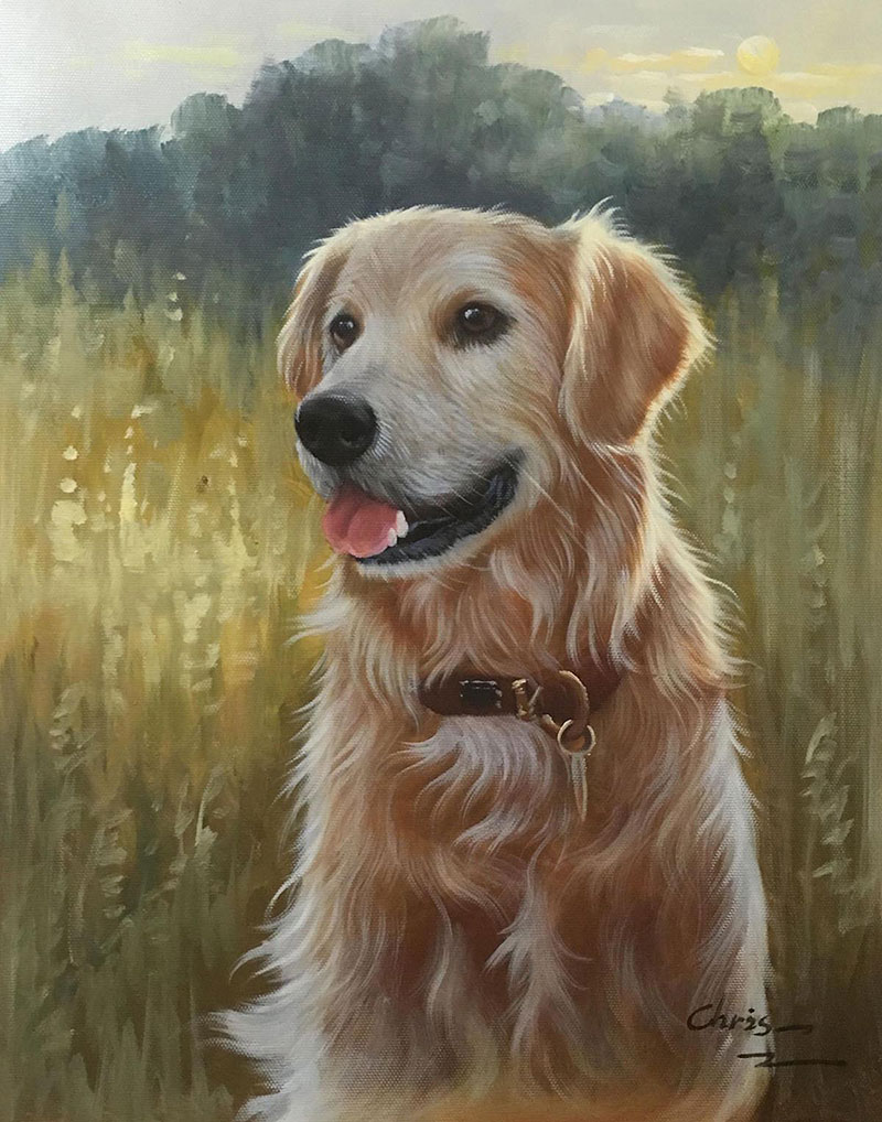 dog in the meadow painting