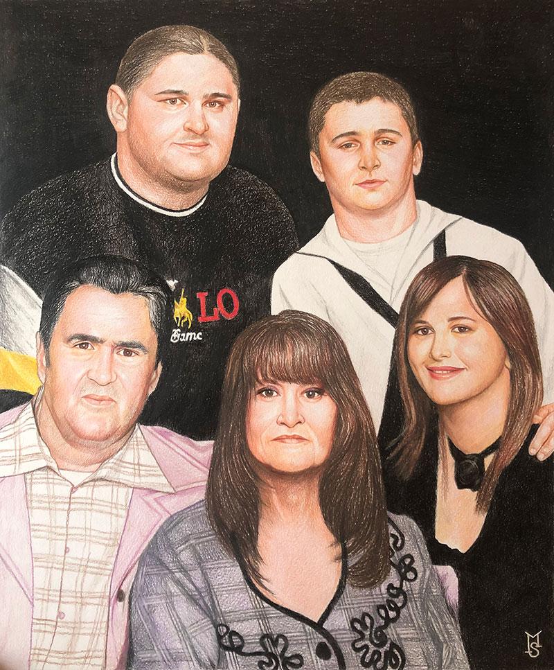 Custom handmade family portrait in color pencil