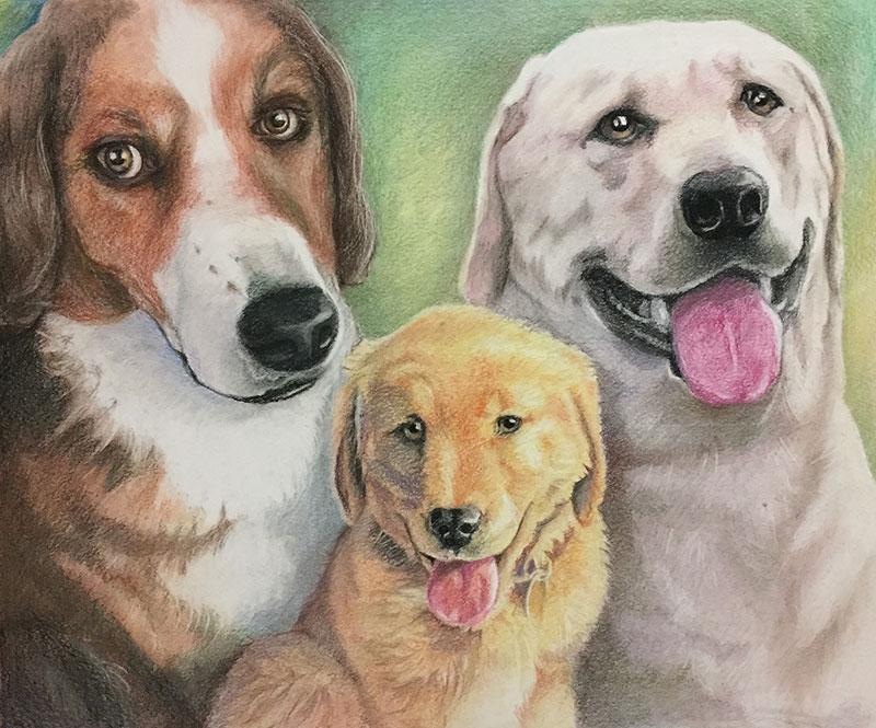 Custom handmade pastel painting of multiple dogs
