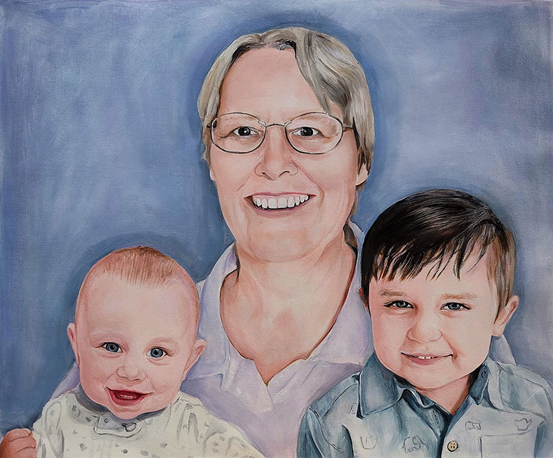 Beautiful oil portrait of a grandmother with grand kids