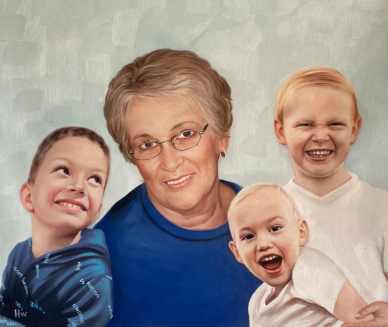 Beautiful oil portrait of a grandmother with grandkids
