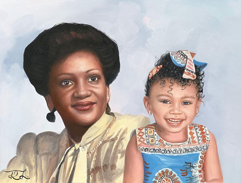 Gorgeous oil portrait of a grandmother and a grandchild