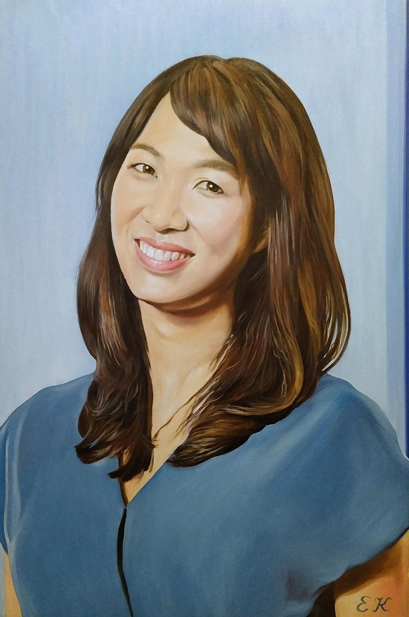 Stunning handmade oil portrait of a lady