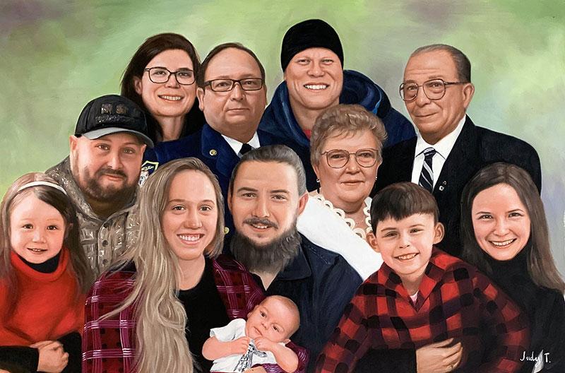 Gorgeous acrylic portrait of a family