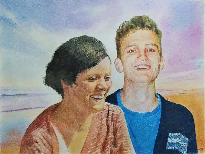 Beautiful color pencil drawing of a loving couple
