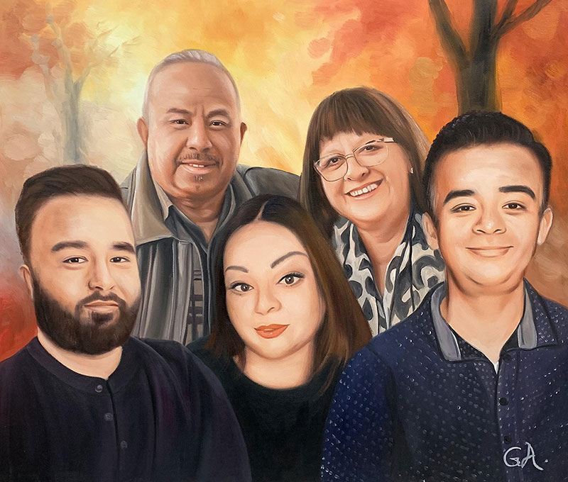 Custom handmade oil artwork of a family