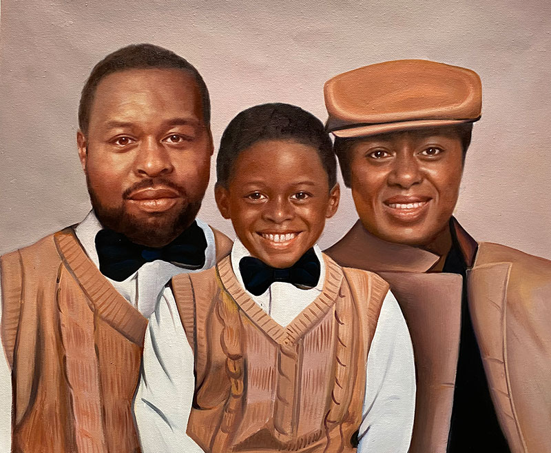 Beautiful acrylic painting of three generation