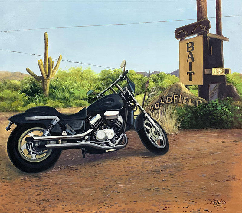 Custom handmade oil painting of a motorbike