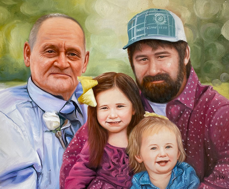 Beautiful oil artwork of two adults and children