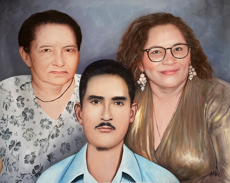 Custom handmade oil painting of a family