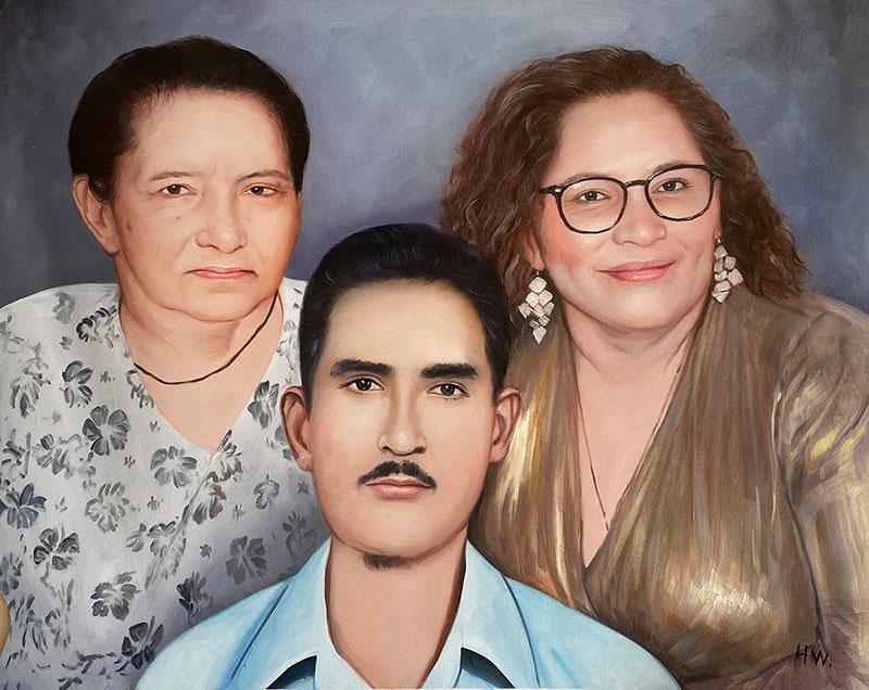 Custom handmade oil painting of a family