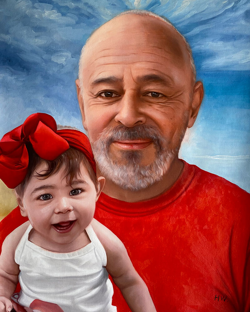 Realistic oil artwork of a grandfather and a granddaughter